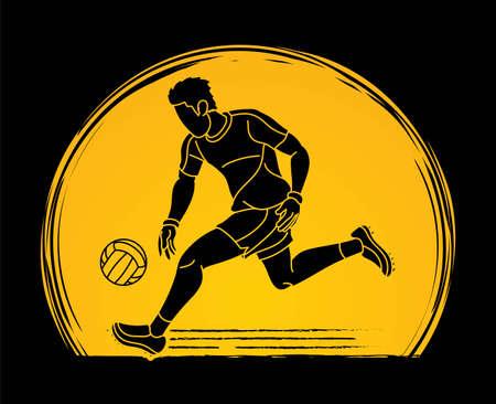 Gaelic Football Sport Male Player Action Cartoon Graphic Vector