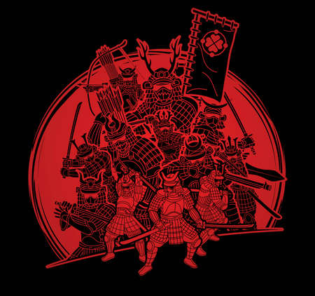 Group of Samurai Warrior with Weapons Action Cartoon Graphic Vector Vektoros illusztráció