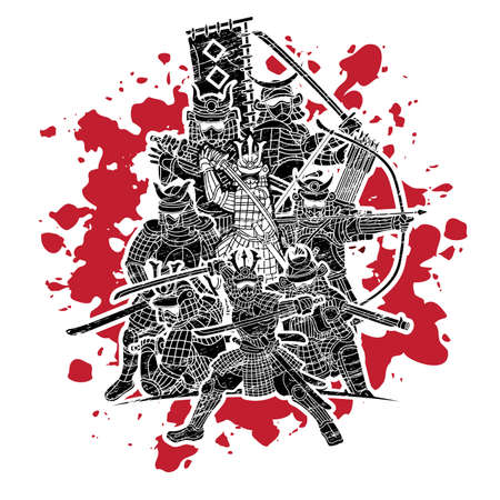 Group of Samurai Warrior with Weapons Action Cartoon Graphic Vector