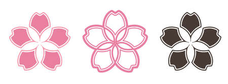 Sakura Japanese Flower Icon Graphic Vector  イラスト・ベクター素材