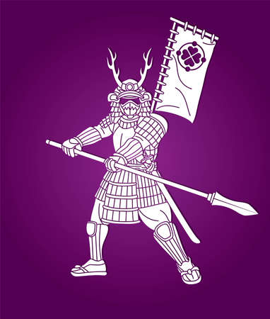 Samurai Warrior with Spear Weapon and Armor Ronin Japanese Soldier Fighter Action Graphic Vector  イラスト・ベクター素材