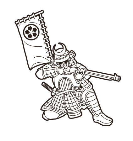 Samurai Warrior with Gun Weapon and Armor Ronin Japanese Soldier Fighter Action Graphic Vector  イラスト・ベクター素材