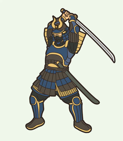Samurai Warrior with Weapon and Armor Ronin Japanese Soldier Fighter Action Graphic Vector  イラスト・ベクター素材
