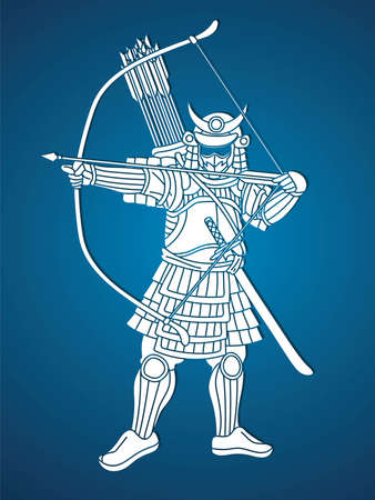 Samurai Warrior with Bow Weapon and Armor Ronin Japanese Soldier Fighter Action Graphic Vector  イラスト・ベクター素材