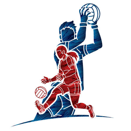 Gaelic Football Male and Female Players Sport Mix Action Cartoon Graphic Vector