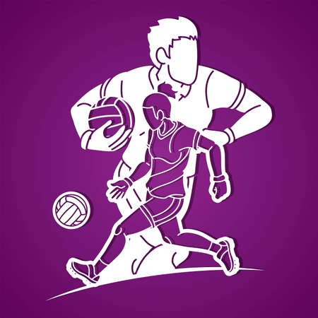 Gaelic Football Male and Female Players Sport Mix Action Cartoon Graphic Vector Vektorové ilustrace