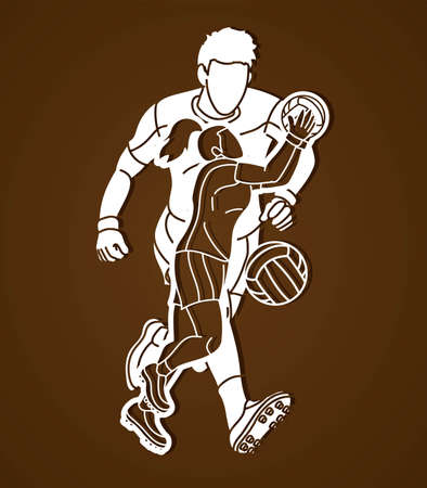 Gaelic Football Male and Female Players Action Vector  イラスト・ベクター素材