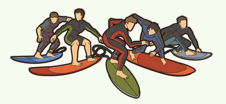 Group of Surfer Action Surfing Sport Man Players Cartoon Graphic Vector