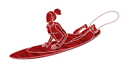 Woman Surfer Surfing Sport Action Cartoon Graphic Vector