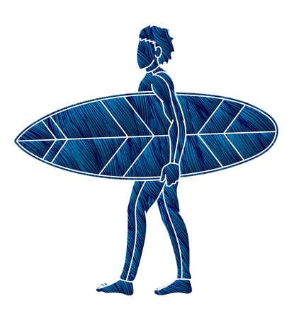 Man Surfer Surfing Sport Action Cartoon Graphic Vector  イラスト・ベクター素材