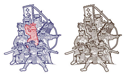 Group of Samurai Warrior Ronin with Weapon and Armor Action Ready to Fight Cartoon Graphic Vector