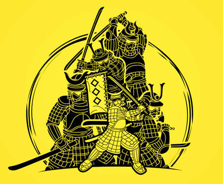Group of Samurai Warrior Ronin with Weapon and Armor Action Ready to Fight Cartoon Graphic Vector  イラスト・ベクター素材