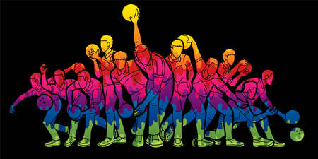 Group of Bowling Sport Male Players Graphic Vector