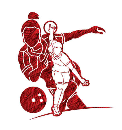 Group of Bowling Sport Female Players Graphic Vector