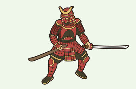 Samurai Warrior or Ronin  Japanese Fighter Bushido Action with Armor and Weapon Cartoon Graphic Vector  イラスト・ベクター素材