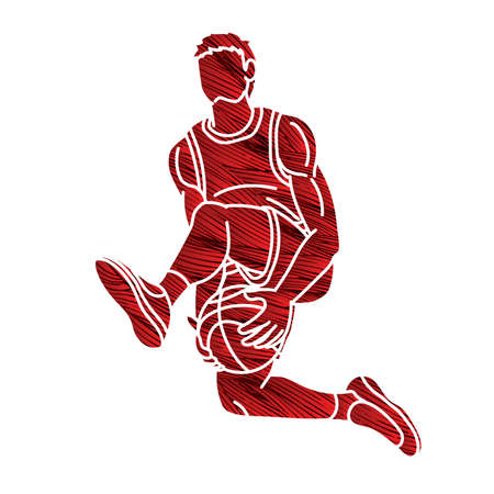 Basketball Male Player Action Cartoon Graphic Vector  イラスト・ベクター素材