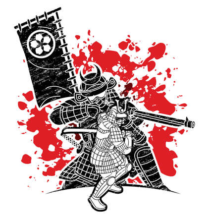Samurai Warrior with Weapons Group of Ronin Japanese Fighter Cartoon Graphic Vector