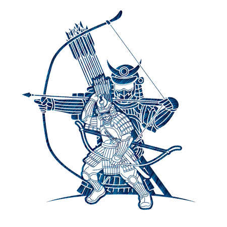 Group of Samurai Warrior or Ronin Japanese Fighter Action with Armor and Weapon Cartoon Graphic Vector