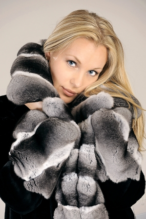 Beautiful woman in winter fur coat Stock Photo