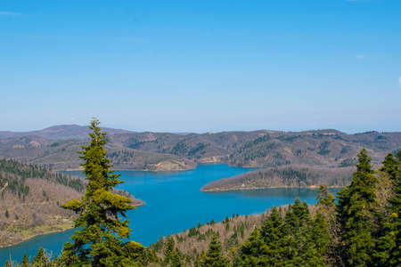 Panoramic view of Plastiras lake in central Greece, Karditsa