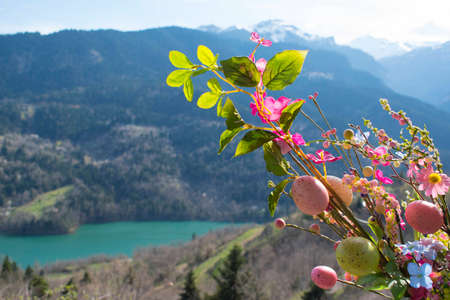 Spring easter nature in lake Plastiras, Greece Stock Photo