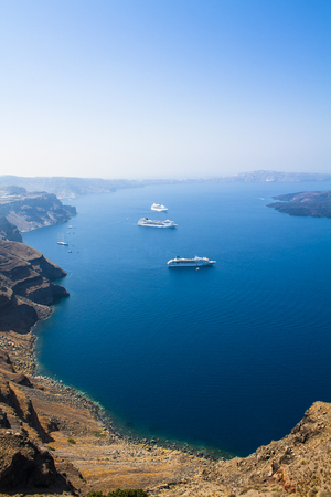 Amazing view of summer Santorini blue bay