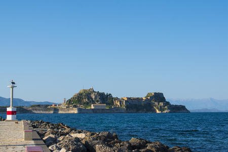 CORFU KERKYRA ISLAND, GREECE. Panoramic view of the old fort of Corfu