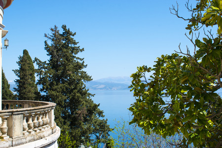 Sea view from Mon Repos palace in Corfu island, Greece