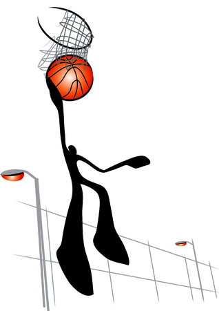 Illustrated shadow man playing basketball Vector