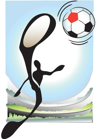 illustration shadowman playing football on colorful Backgraound Illustration