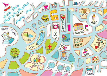car garden: Map for kid activity, toy, accessary, item colorful