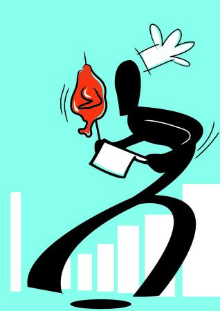 chichen: illustration  shadow man cartoon carrying roasted chichen Illustration