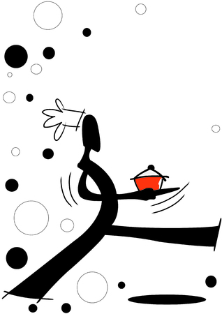 gourmet dinner: illustration  shadow man cartoon walking with delicious meal in hand on circle graphic background Illustration