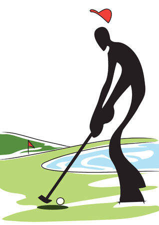 Illustration shadow man playing golf at field on beautiful day Vector