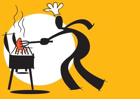 Abbildung Schatten Mann Cartoon kochen Barbecue auf wei�em und gelbem Hintergrund  Lizenzfreie Bilder - 7089784