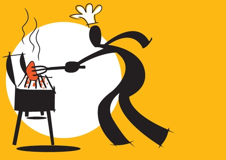 man outdoors: illustration  shadow man cartoon cooking barbecue on white and yellow background Illustration
