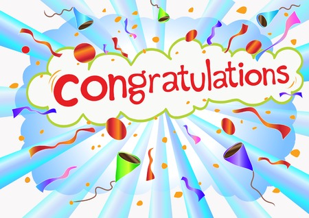 wording: illustration congratulations wording and celebration symbol