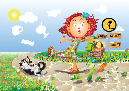 Illustration vivacious  girl walking on the way from market with falling down vegetable and the cat lying near her in sunny day. Vector