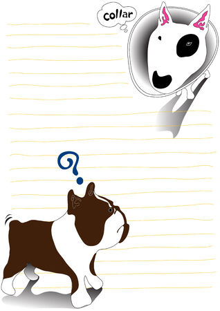 Illustration bullterrier dog and bulldog cartoon note paper Vector
