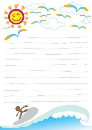 ni�os actuando: Ilustraci�n hermoso d�a de playa con papel de nota de windsurf  Vectores