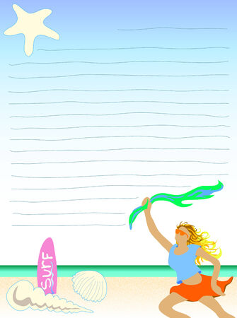 scarf beach: Illustration woman lifting her scarf on beach note paper Illustration