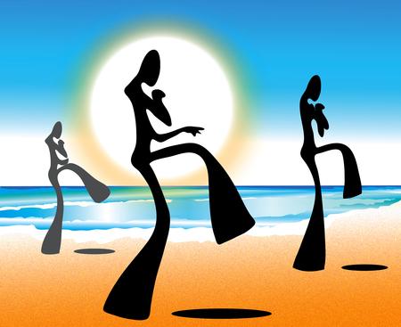 Illustration Taekwondo shadow man on beach with sun rise  Vector