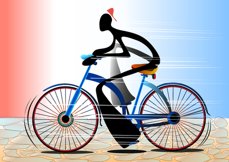 Illustration shadow man cartoon riding bicycle