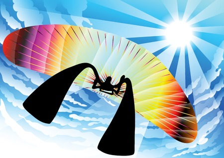 illustration shadow man cartoon playing paragliding in beautiful sky background