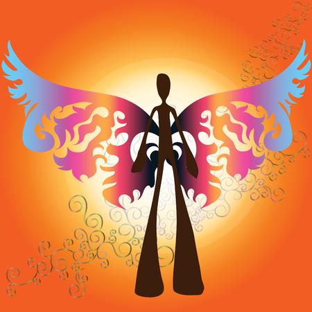 Illustration shadow man cartoon in butterfly fantasy theme Vector
