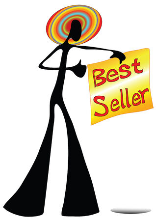 Illustration shadow man cartoon showing best seller sign