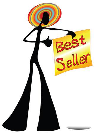 Illustration shadow man cartoon showing best seller sign