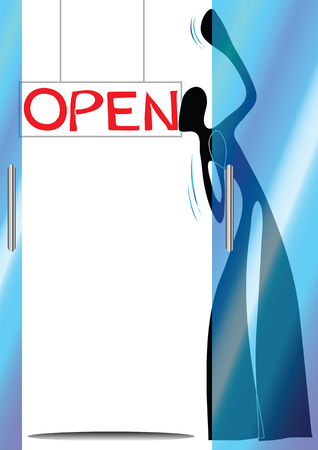 Illustration shadow man cartoon opening shop Vector