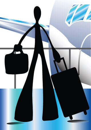 Shadow man cartoon carrying traveling bag in the airport with airplane at the background