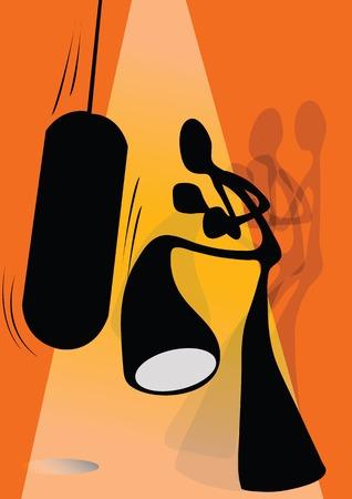 Illustration shadow man cartoon kicking sandbag
